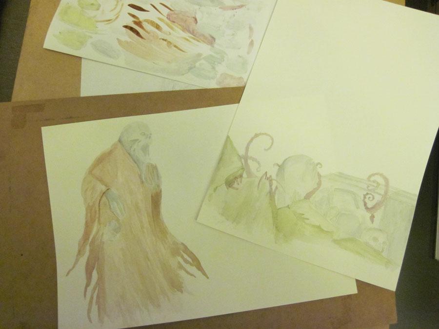 Morlok Issue 2 Rise of the Revenants cover watercolours